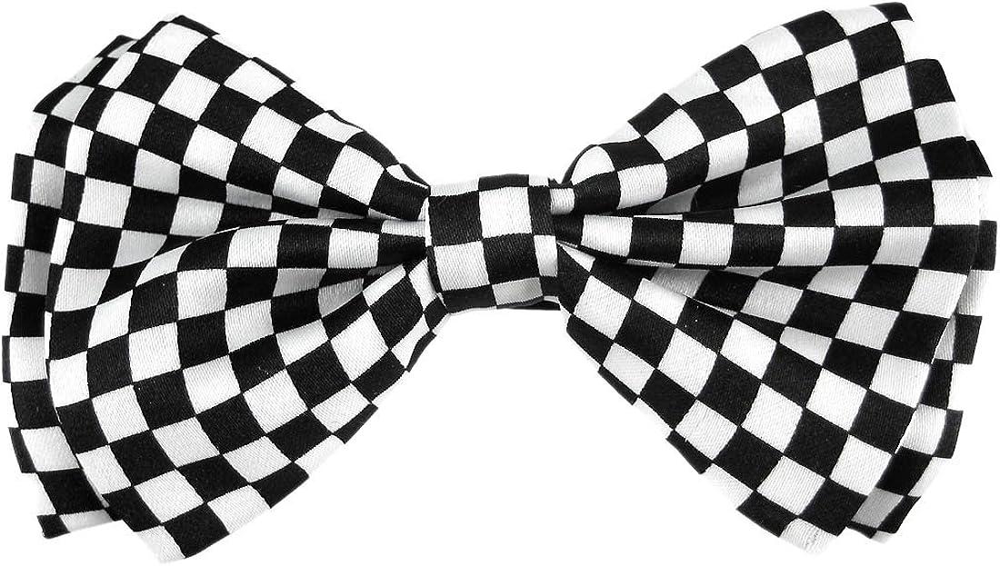 Black / White Checkerboard Print Bowtie Bow Tie