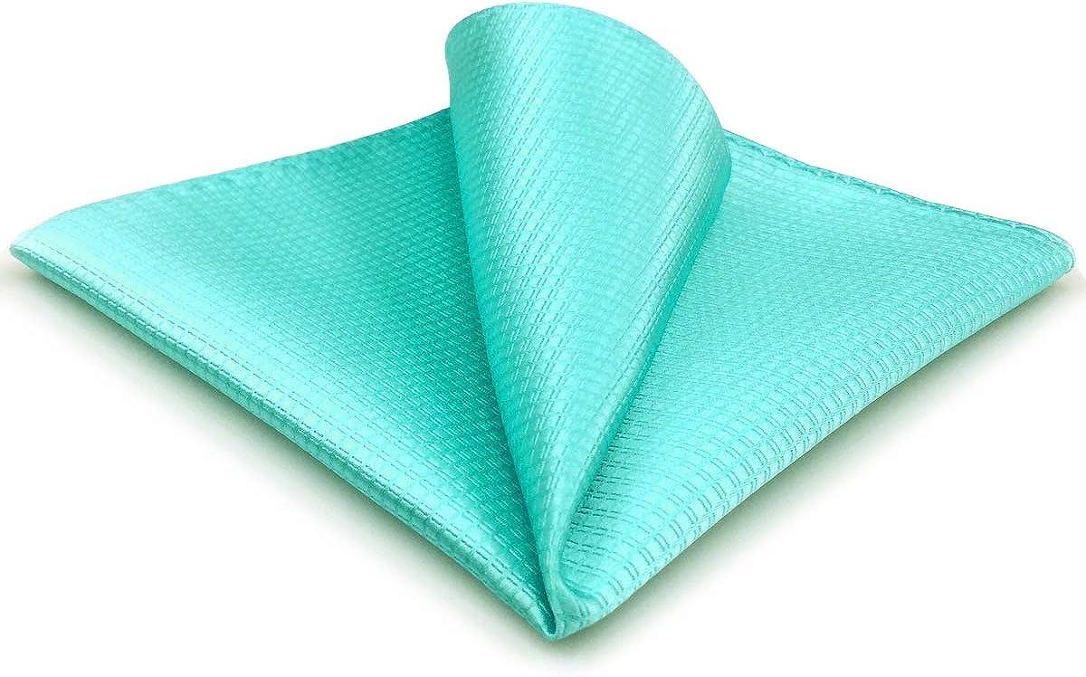 SHLAX&WING Solid Aqua Indigo Silk Pocket Square for Men Classic Business Hanky