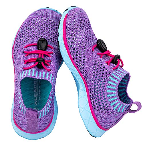 ALEADER Aqua Water Shoes for Girls, Athletic Sport Walking/Running Shoes, Lightweight Fashion Sneakers Purple/Light Blue 2 M US Little Kid