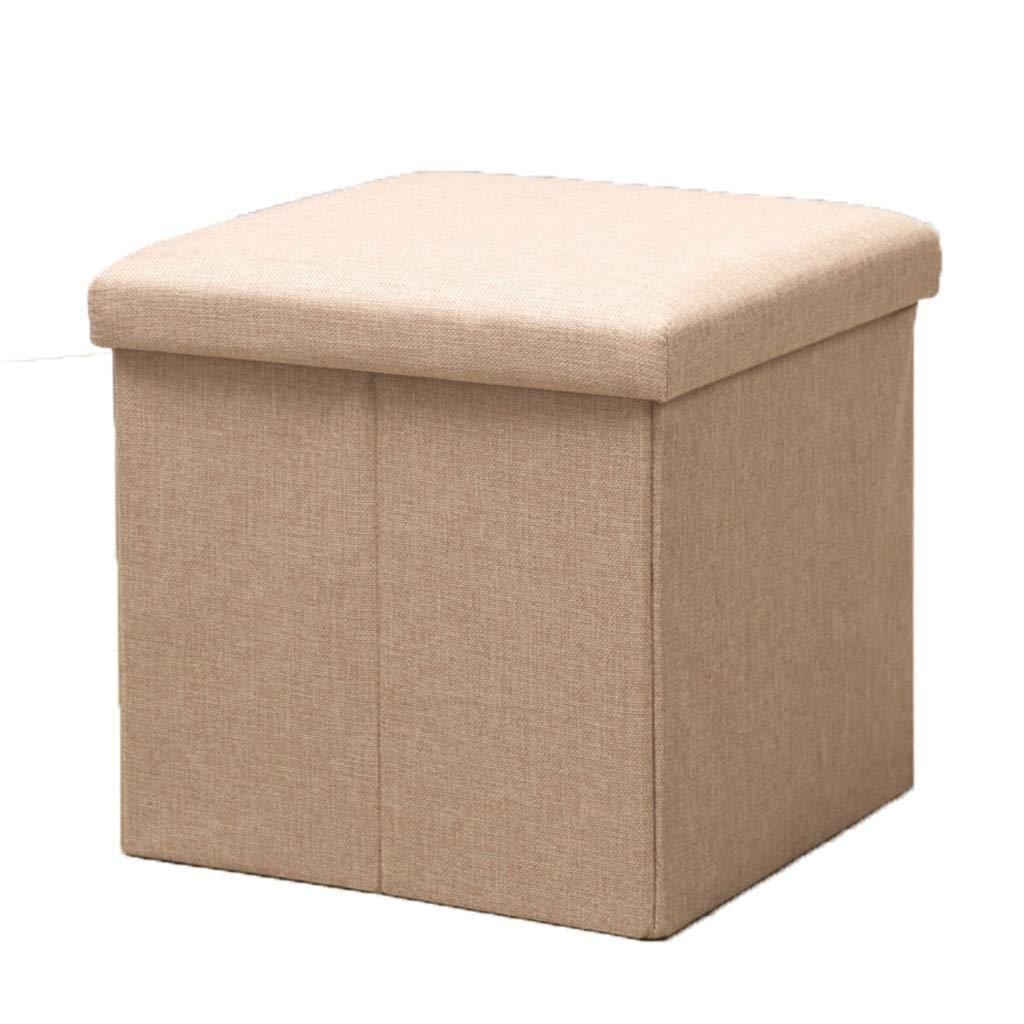QQXX Reposapiés Cubo de Lino Plegable Almacenamiento Almacenamiento Puf Otomano Caja de Almacenamiento Asiento de salón Sala de Estar en el hogar Muebles de Dormitorio Taburete para pies 383838cm: Amazon.es: Hogar