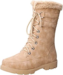 HebeTop Womens Lace Up Ankle Boots Chunky Grip Sole Ladies Winter Retro Combat Goth Biker Militarty Army Shoes Booties