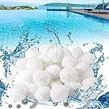 Bolas de filtro de piscina, material de bolas de filtro de 500 g para bomba, para bola de fibra ecológica para estanque, natación, acuario, puede reemplazar 20 kg de arena de filtro, reutilizable