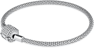 Charms Clasp Bracelet Sterling Silver charm Bangle Bracelets For Women Perfect Fits charms