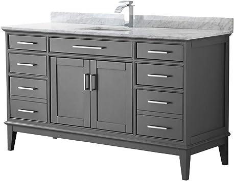 Margate 60 Inch Single Bathroom Vanity In Dark Gray White Carrara Marble Countertop Undermount Square Sink And No Mirror Amazon Com