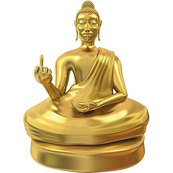 Monstercadeaux Statue De Bouddha Avec Doigt D Honneur Statuette Doree Decoration Interieure Amazon Fr Cuisine Maison