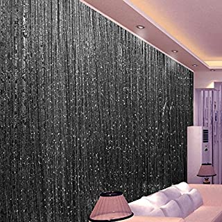 Topixdeals Rare Flat Silver Ribbon Door String Curtain Thread Fringe Window Panel Room Divider Cute Strip Tassel Party Events (110 X 110 Inch (1 Pack), Black)