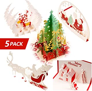 Bewinds 3D Pop Up Christmas Cards, Set of 5 Greeting Holiday Cards Gifts for Xmas/New Year