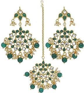 Elegant Indian Traditional Wedding Kundan Pearl Maang Tikka with Earrings Set for Women Ethnic Bollywood Party Jewelry