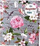 RNK 46701 - Ringbuch'Blütenzauber' mit Register A-Z, für DIN A5, 4 Ring-Mechanik, 1 Stück