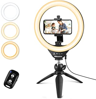 "UBeesize 10"" Selfie Ring Light with Tripod Stand & Cell Phone Holder, Dimmable Desktop LED Circle Light for Live Streaming..."