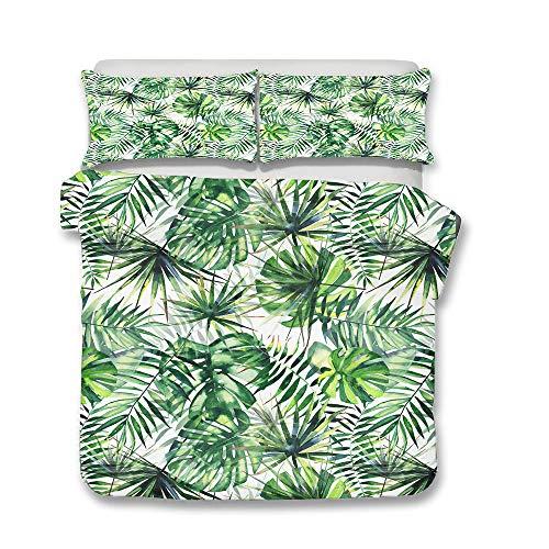 Funda de Edredón Juego de Ropa de Cama, Morbuy Tropical 3D Hoja de Palma Verde Patrón Suave Microfibra Bedding Incluye Funda Nórdica y Funda de Almohada (Cama 90-150x200cm,A)