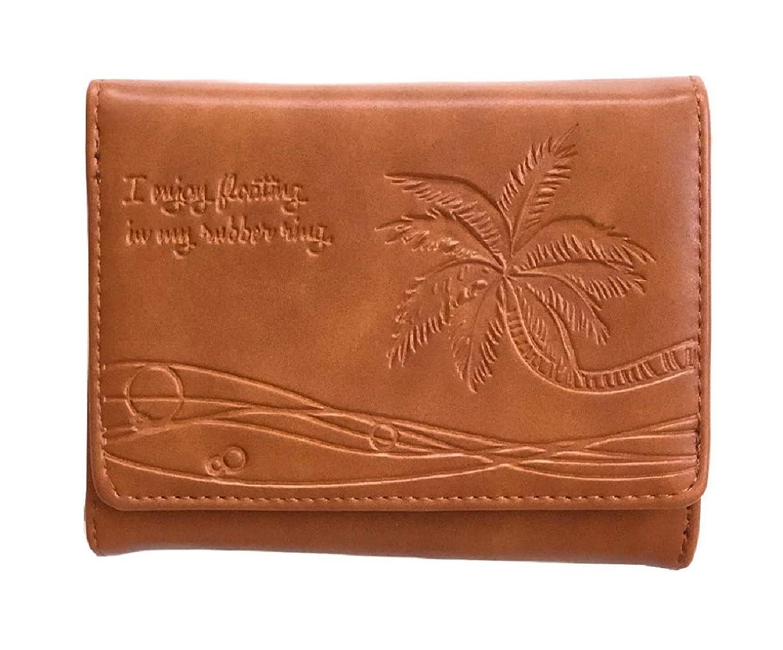 うがい薬教え七時半財布 レディース 札入れ かわいい おしゃれ ハワイアン やしの木 型押し