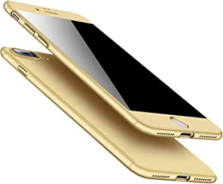 360 Full Protective Phone Case for iPhone 8 7 Plus 6 6s Case 5 5S SE X 10 Full Cover for iPhone XR Xs Max X Cases with Glass,Gold,for iPhone Xs