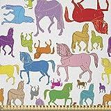 ABAKUHAUS Caballos Tela por Metro, Resumen De Los Sementales Salvajes, Microfibra Decorativa para Artes y Manualidades, 1M (230x100cm), Multicolor