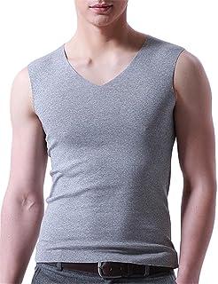 BESTLEE Tシャツ vネック メンズ 無袖 スリーブレス シャツ インナー 無地