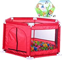 CXHMYC Playpen, strong and durable park, crawling in the activity center, safety barrier, customized floor mats, breathable mesh, easy to install, with robust bases 126 x 65 cm