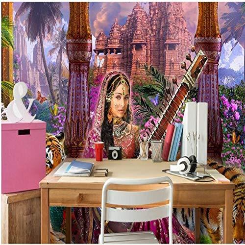 muurschildering foto huis aangepaste grote fresco kasteel kasteel India spelen piano schoonheid en tijger bos achtergrond muur behang