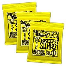 Ernie Ball Beefy eléctrica Slinky Cuerdas se juega por Jimmy Page, Jeff Beck, y Angus Young. Estas cuerdas son precisión fabricado a los más altos estándares y especificaciones más exigentes para garantizar la coherencia, un rendimiento óptimo, y lar...
