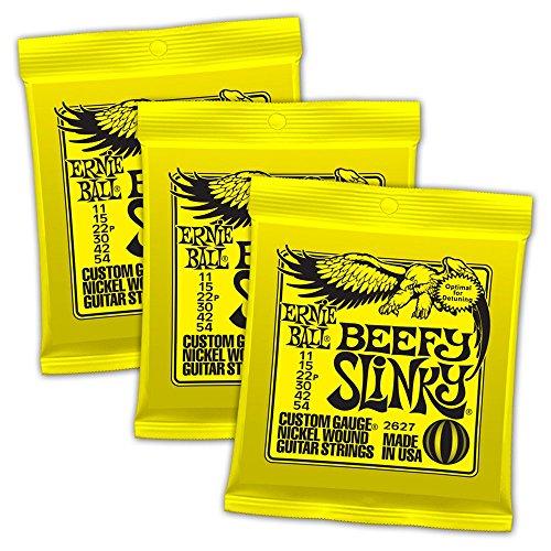 Juegos de cuerdas de guitarra Ernie Ball Beefy Slinky con cobertura de níquel, 0,011-0,054, paquete de 3juegos