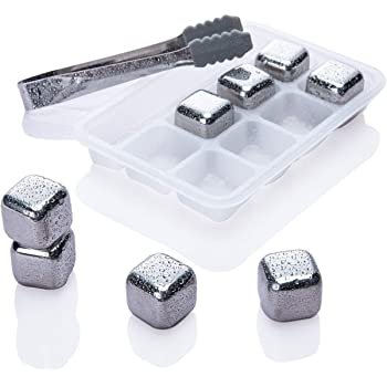 Whiskey Stones Ice Cubes - Set of 8 Stainless Steel Reusable Whisky Chilling Frozen Rocks for Wine Beverage Juice