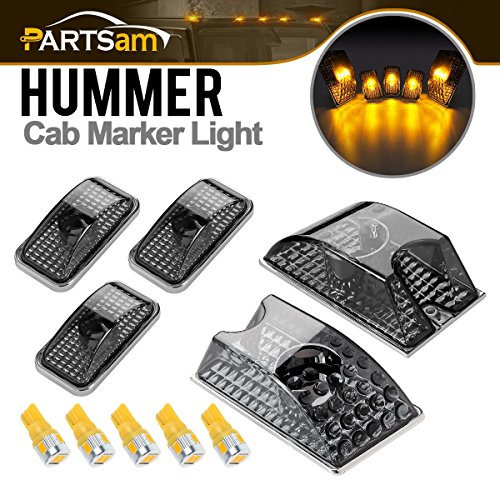 Partsam 5X Smoke Cover Lens Cab Marker Top Roof Running Light 264160BK + 5X High Power T10 194 168 W5W Amber LED Bulbs Compatible with Hummer H2 SUV SUT 2003-2009 Waterproof