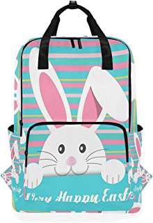FAJRO Happy Easter Day Bunny Mochila Escolar de Moda