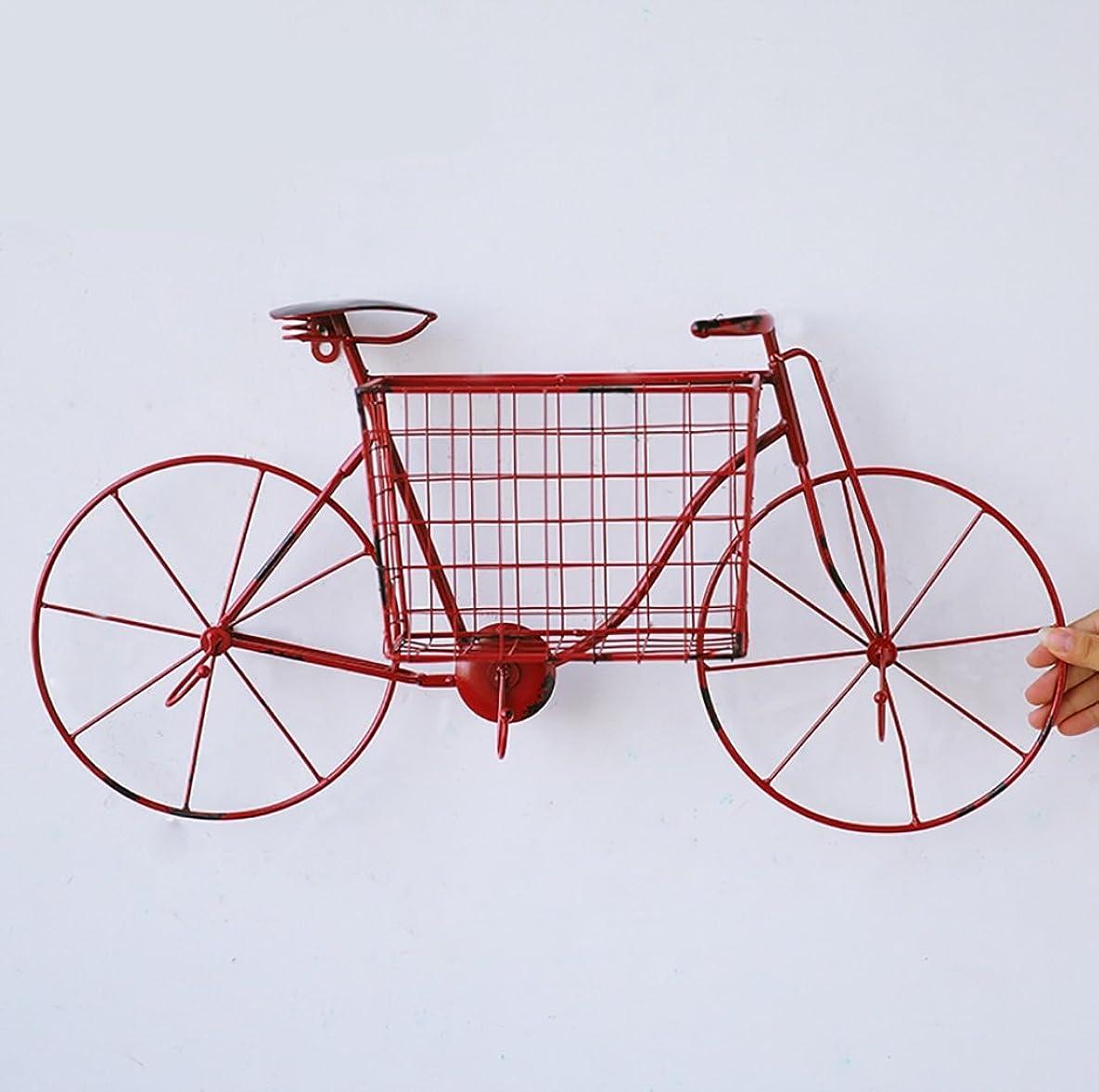慣性彼はもっともらしいレトロインダストリアルスタイルアイアンウォールクロッククリエイティブウォールデコレーションリビングルームベッドルーム自転車の装飾工芸品 (Color : Red)