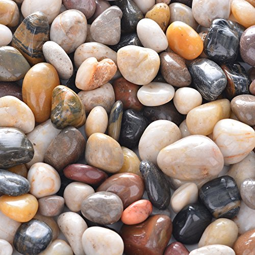 OUPENG Aquarium Gravel River Rock - Natural Polished Decorative Gravel, Small Decorative Pebbles, Mixed Color Stones,for Aquariums, Landscaping, Vase Fillers 2 Pounds (32-Oz)…