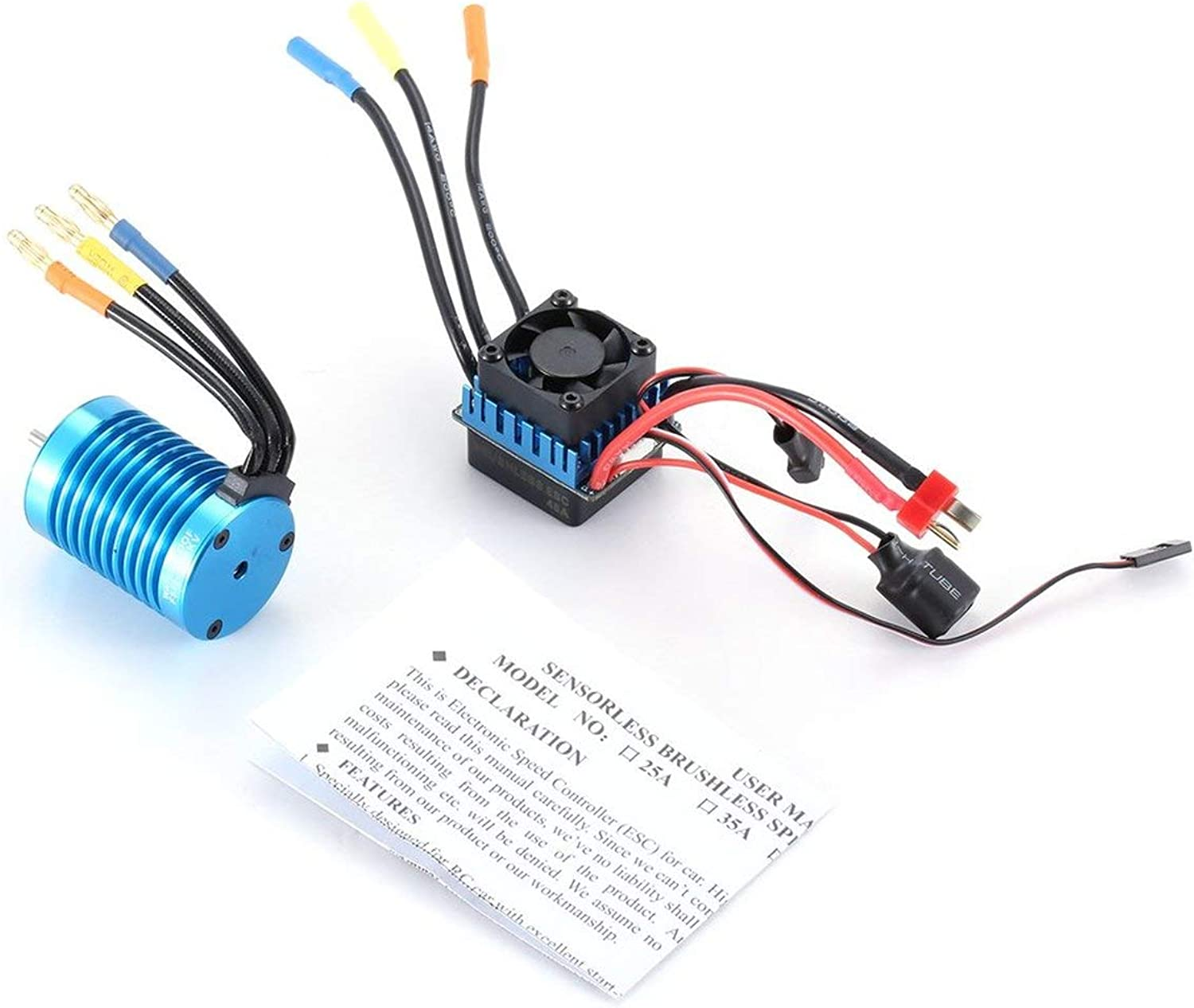 F540 4370KV Sensorless Brushless Motor with 45A ESC Electric Speed Controller Combo Set for 1 10 Scale RC Car Truck