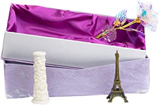 MSA Jewels Gold Rose with LED, Bud Vase and Eiffel Tower Statue with Carry Bag and Gift Box