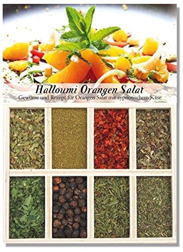 Halloumi Orangen Salat – 8 Gewürze Set für den Orangen Salat mit zypriotischem Käse (40g) – in einer schönen Holzbox – mit Rezept und Einkaufsliste – Geschenkidee für Feinschmecker von Feuer & Glas