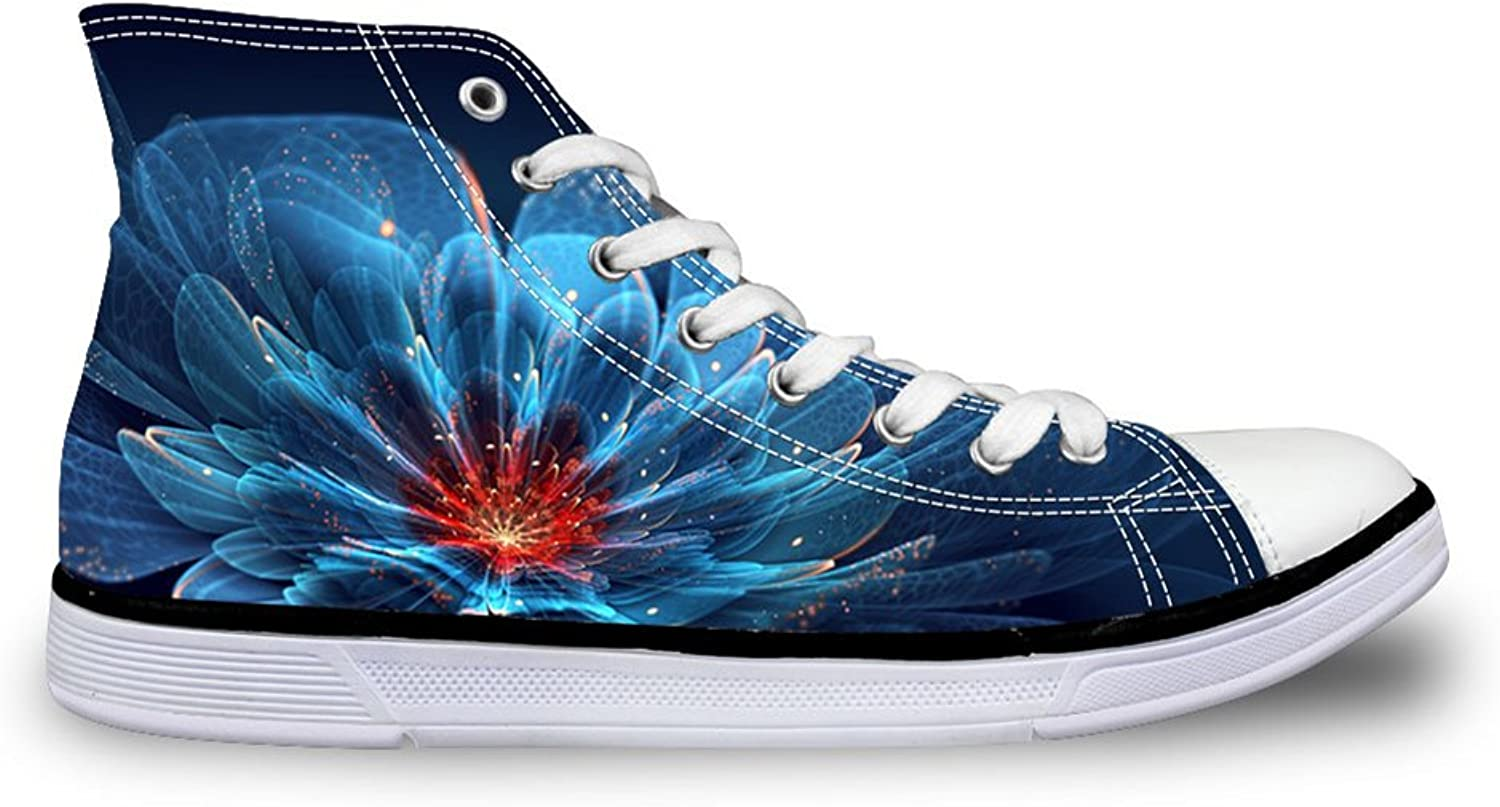 Mumeson Classic Floral Women High Top Canvas Casual shoes Fashion Flat Sneakers Size 5-11
