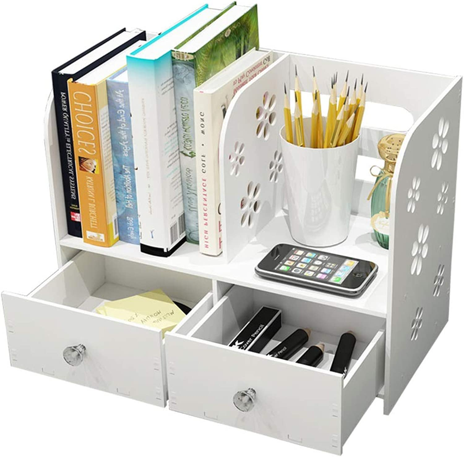 ZHIRONG Desk Organiser 2-Tier Multi-use Bookcase Bookshelf Storage Rack with 2 Drawer for Home Kitchen Office Bedroom Bathroom (White)