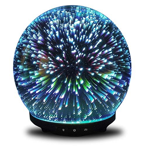 Simply Diffusers – Orion – 3D Mercury Glass Diffuser – Original 3D Aromatherapy Essential Oil – Cool Mist Diffuser – 3-Button Technology for Diffusion and LED Lighting – Customized Diffusion Settings