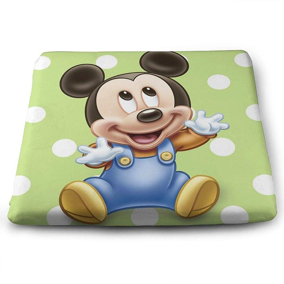 アレキサンダーグラハムベルパンダ拍車ミッキーマウスの赤ちゃん クッション 四角形 座布団 低反発 座り心地抜群 洗える通 気性 自宅用 オフィス 椅子用 車用 1枚 35x38x3CM