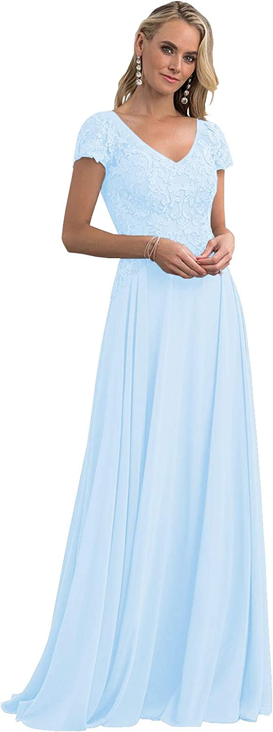 Women's Lace Applique Max 83% OFF Mother of Latest item The C Sleeve Short Bride Dresses