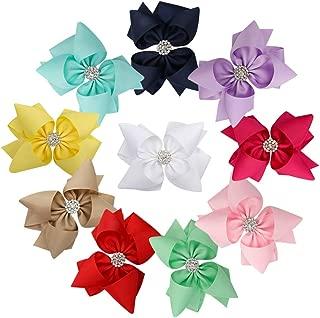Girl Hair Bows Clip, Boutique Grosgrain Ribbon Non Slip with Alligator Hair Clip for Girls Kids Teens Women (10pcs 5inch hair bow)
