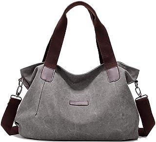 DNFC Damen Handtasche Canvas Schultertasche Umhängetasche Schöne Vintage Henkeltasche Beuteltasche Damen Mädchen Shopper Tasche Grau