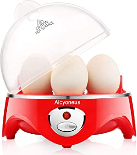 Alcyoneus Egg Cooker, Egg Boiler Electric, Noise-Free Hard Boiled Egg Maker with Auto Shut Off & 7-Capacity, Suitable for Poached Egg, Scrambled Eggs, Omelets - Red (5 BPA-free/ETL Listed/FDA Compliant)