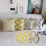 Comoco® 4 fundas de cojín coordinadas geométricas con impresión digital, de lona de algodón, decorativas , algodón, Yellow and Grey Bundle Set of 4, 45 x 45cm
