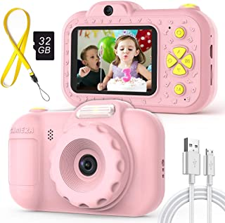 2019 New Digital Kids Toy Cameras Gifts for Girls, LED Flash, 16MP Front & Rear Camera, IPS Eye-Protecting Screen, Shockproof Safe Silicone, Video Record Selfie Camera for Preschool Children, Pink