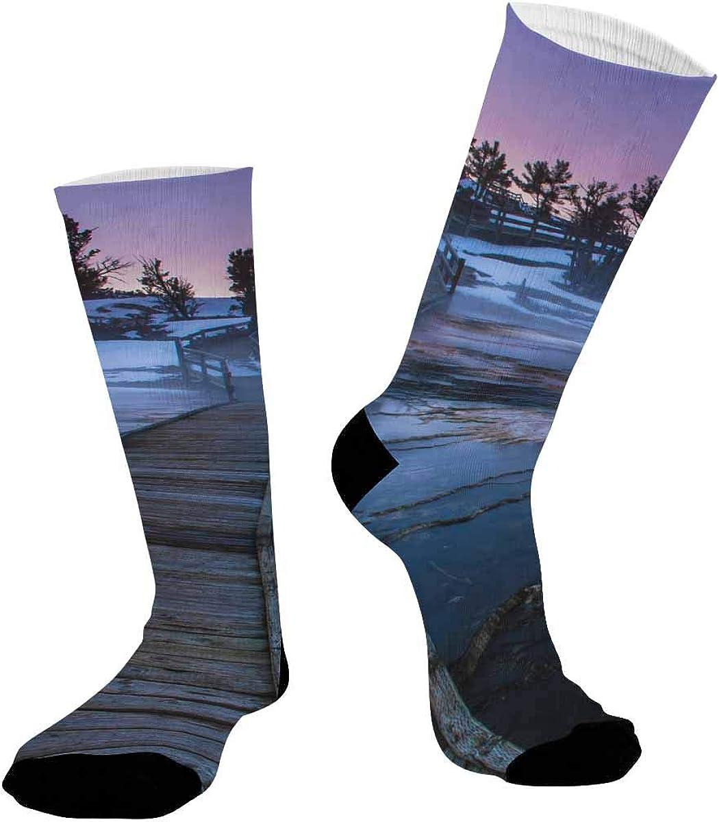 INTERESTPRINT Unisex Sublimated Crew Socks Athletic Running Socks Beautiful Sunset in Yellowstone