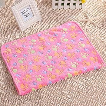 Vejaoo Couverture de Chien/Chat Tapis Chien Chat Lavable en Machine Grand lit d 'Animaux Domestiques Doux et Doux Lavable, 3 unités XZ019 (40 * 60cm, Beige+Pink+Camel Dog's Paw)