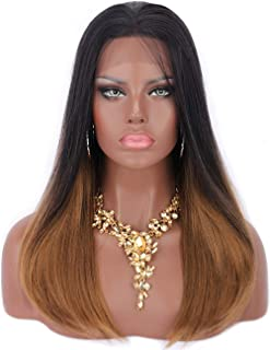 Kalyss Synthetic Lace Front Wigs for Black Women 2 Tones Ombre Brown Yaki Heat Resistant Side Parted Lace Frontal Wigs 20 inches