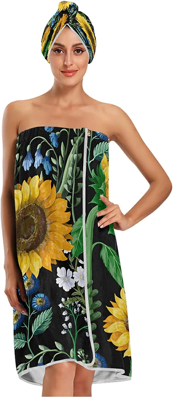 xigua 2021 autumn and winter new Women Bath Towel Wrap Set Adjustab 3D Watercolor Sunflower Super special price