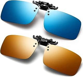 Polarized Flip Up Clip-on Sunglasses Anti-Glare UV 400 Lens Fishing Driving Sunglasses Fit Over Prescription Glasses