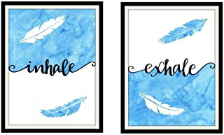 Inhale Exhale 8x10 Inch Pair of Art Prints Feather Artwork Zen Wall Decor Blue and White - 2 Pieces