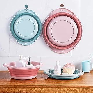 MM&UU 洗い桶 折り畳み 2点セット 洗面器 たらい 洗濯 掃除 キッチン用 お風呂用 足湯 ペット用 フック2個贈る 壁掛ける(ピンクとブルー)