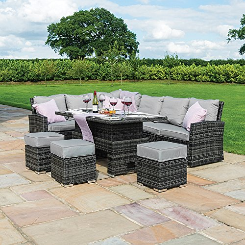 Nova Cambridge Left Hand Corner Dining Set - Outdoor Rattan Garden Furniture Casual Sofa Set with Rising Rectangular Table - Grey Flat Weave