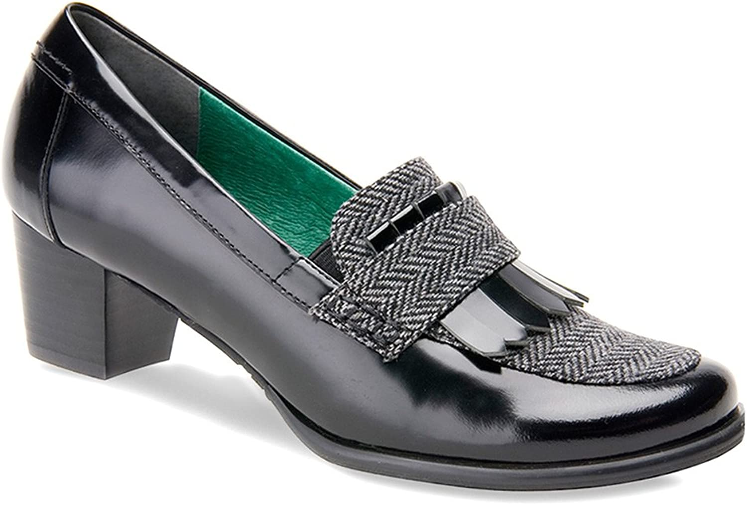 Ros Hommerson Women's Amy Black Leather Grey Herringbone loafers 10.5 N